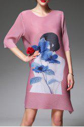 Figure and Floral Print Ruched Dress -