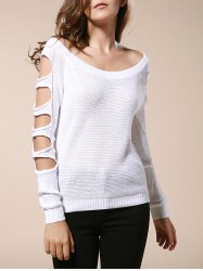 Trendy Round Neck Long Sleeve Pure Color Cut Out Women's Sweater