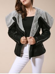 Stylish Turn-Down Collar Long Sleeve Zippered Women's Leather Black Jacket - BLACK