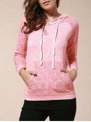 Chic Candy Color Hooded Hollow Out Pullover Hoodie For Women - PINK