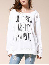 Sexy Skew Neck Letter Printed Pullover Sweatshirt For Women -