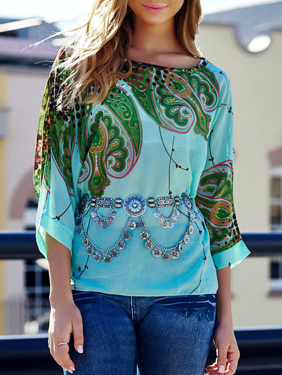 Discount Stylish Scoop Neck Batwing Sleeve Printed Loose-Fitting Chiffon Blouse For Women