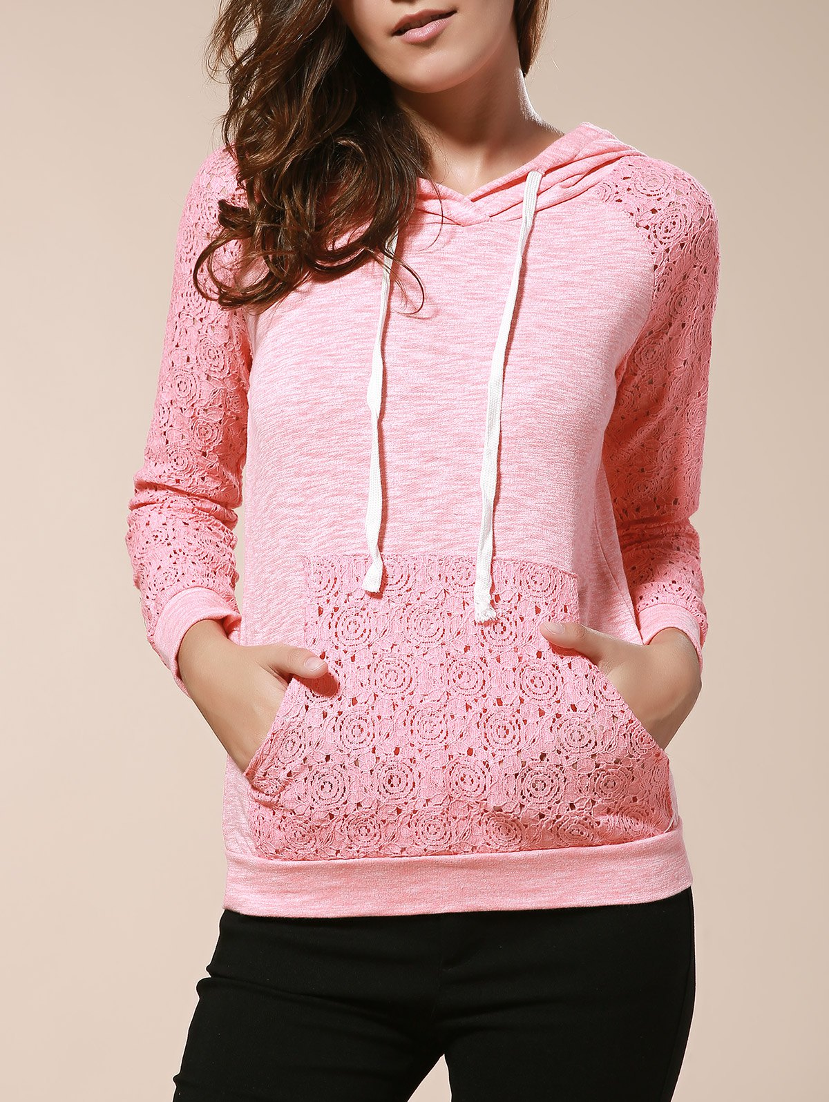 New Chic Candy Color Hooded Hollow Out Pullover Hoodie For Women