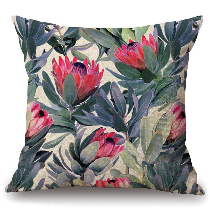 Best Fashionable Tropical Plants Pattern Flax Pillowcase (Without Pillow Inner)