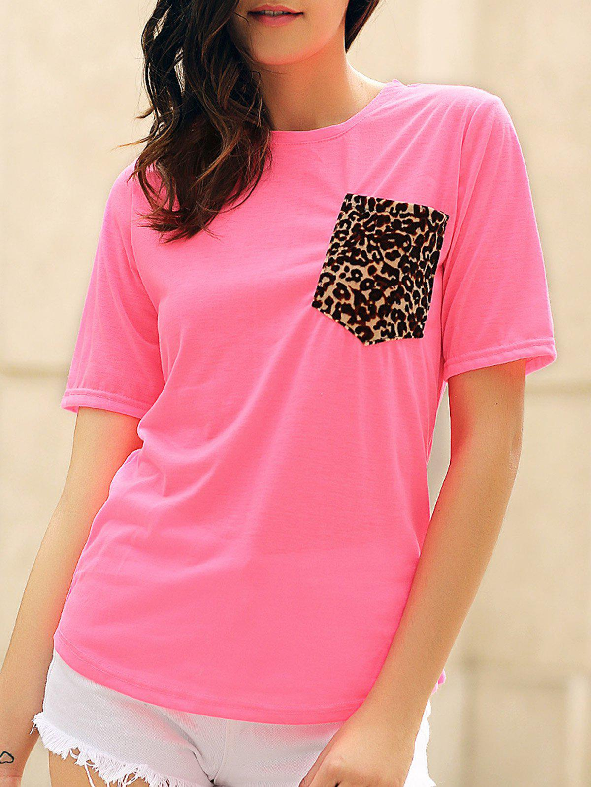 Fancy Stylish Round Neck Short Sleeve Leopard Print Women's T-Shirt