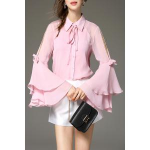 Flare Sleeve Bowknot Shirt and Solid Color Cami Tank Top - Pink - M