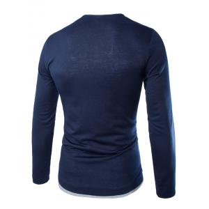 Long Sleeves Two Tone Button T Shirt - CADETBLUE L