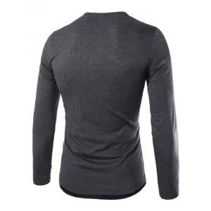 Long Sleeves Two Tone Button T Shirt - DEEP GRAY L