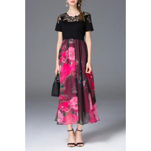 Belted Floral Print Maxi Dress -