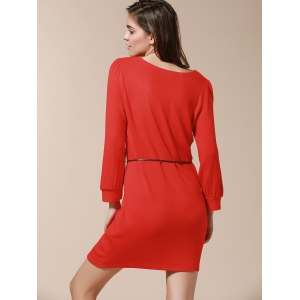 Solide Couleur style simple Skinny manches bouffantes Robe de V-Neck femmes - Rouge TAILLE MOYENNE
