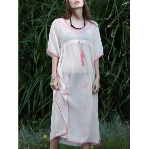V-Neck Batwing Sleeve Drawstring Cover Up