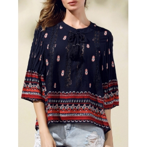 Trendy Round Neck 3/4 Sleeve Lace Spliced Printed Blouse For Women