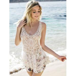 Sheer Lace Tank Top - WHITE ONE SIZE