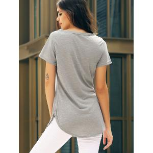 Short Sleeve Casual Mini Shift Dress - GRAY S