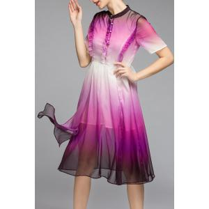 Layered Single-Breasted Ombre Dress -