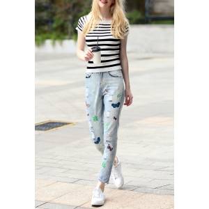 Striped Sheath T-Shirt and Embroidered Jeans Suit -