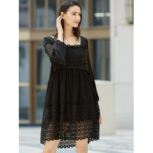 Lace Panel Long Sleeve Smock Casual Dress -