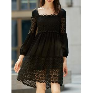 Lace Panel Long Sleeve Smock Casual Dress