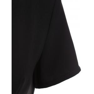Elegant Jewel Neck Color Patchwork T-Shirt and Black Wide-Leg Pants For Women -