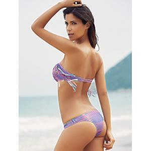 Stylish Halter Fringed Striped Bikini Set For Women -