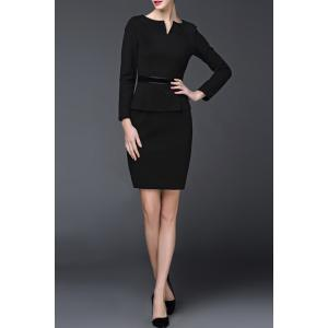 Long Sleeve Peplum Work Dress -