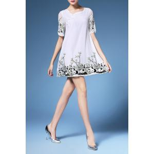 Embroidery Short Sleeve Dress For Women -