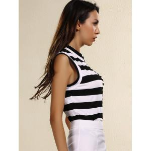 Stylish Stand Collar Sleeveless Striped Sheath T-Shirt For Women - WHITE AND BLACK 3XL