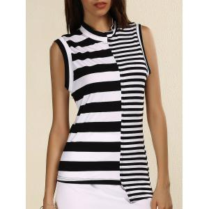 Stylish Stand Collar Sleeveless Striped Sheath T-Shirt For Women