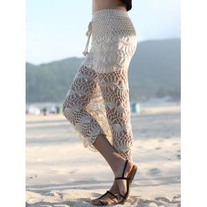 Stylish High Waist Solid Color Cut Out Crochet Women's Cover Up Skirt -