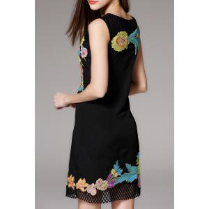 Flower Embroidered Hollow Out Sleeveless Dress -