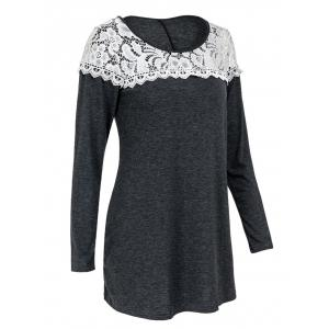 Casual Scoop Neck Lace Patchwork Long Sleeves T-Shirt For Women - GRAY L