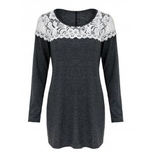 Casual Scoop Neck Lace Patchwork Long Sleeves T-Shirt For Women