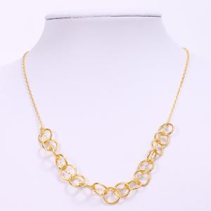 Simple Solid Color Hollow Out Round Necklace For Women - Golden - One-size
