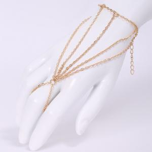 Fashion Multi-Layered Tassels Simple Design Bracelet With a Ring For Women - Golden