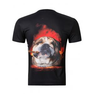 Casual 3D Dog Printing Round Collar Short Sleeve T-Shirt For Men -