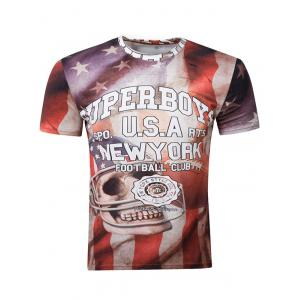 3D Skull Graphic Print American Flag Distressed T-Shirt