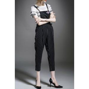 Letter Print T-Shirt and Striped Overalls Jumpsuit -