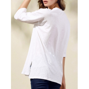 Stylish Round Neck 3/4 Sleeve Earth Embroidery Women's T-Shirt -