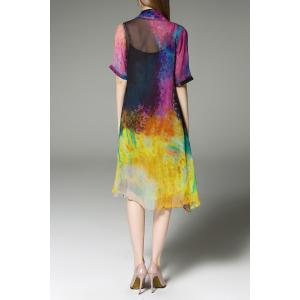Scoop Neck Colorful Sundress and Cardigan Twinset -