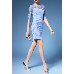 Embroidered 1/2 Sleeve Mesh Dress For Women -