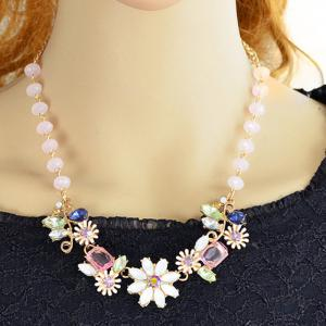 Coloful Rhinestoned Flowers Pendants Necklace - COLORMIX