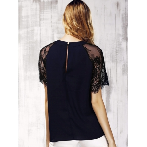 Chic Women's Lace Spliced Keyhole Neck Short Sleeve Blouse -