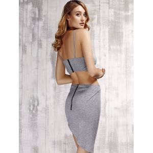 Stylish Spaghetti Strap Solid Color Top + Asymmetrical Skirt Twinset For Women -