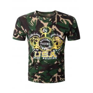 Casual Camo Letter Printed Round Collar Short Sleeve T-Shirt For Men