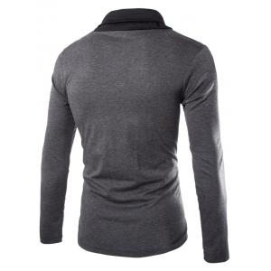 Stylish Slimming Turndown Collar Two Color Splicing Drawstring Long Sleeve Polyester T-Shirt For Men -