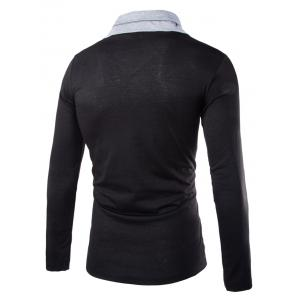 Stylish Slimming Turndown Collar Two Color Splicing Drawstring Long Sleeve Polyester T-Shirt For Men - BLACK M