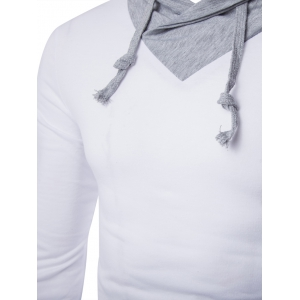 Stylish Slimming Turndown Collar Two Color Splicing Drawstring Long Sleeve Polyester T-Shirt For Men - WHITE M