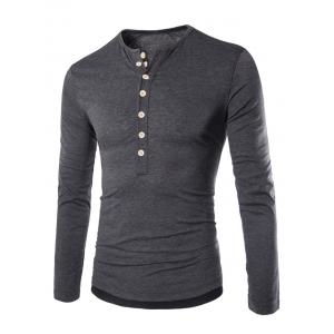 Long Sleeves Two Tone Button T Shirt - Deep Gray - 2xl