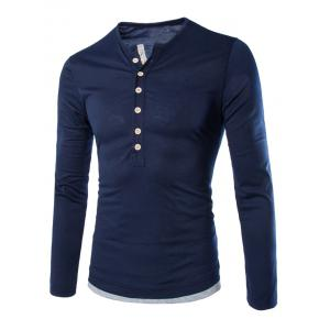 Long Sleeves Two Tone Button T Shirt - Cadetblue - L