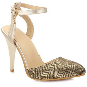 Trendy Ankle Strap and Pointed Toe Design Sandals For Women - Golden - 38